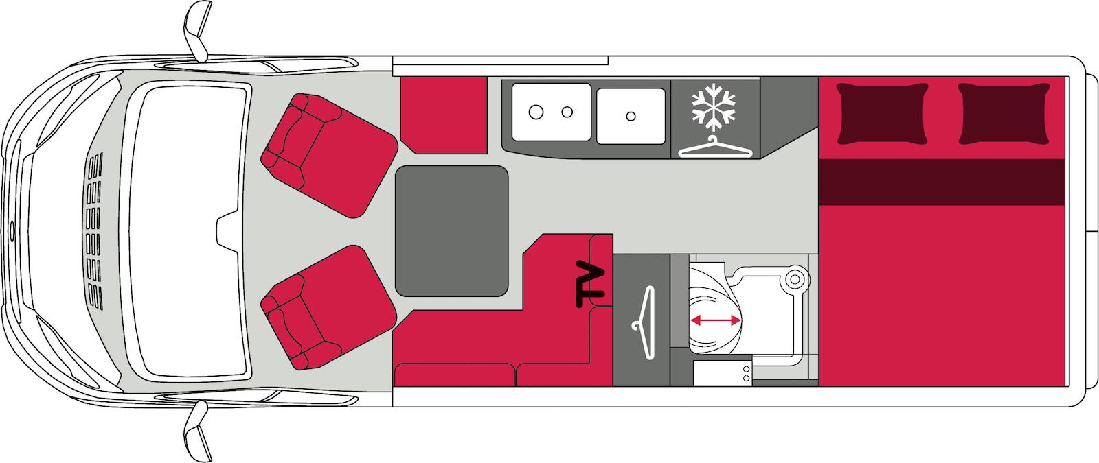 Pilote inaugure la banquette en L sur un fourgon aménagé. Sur le côté opposé, un strapontin complète le nombre des places.