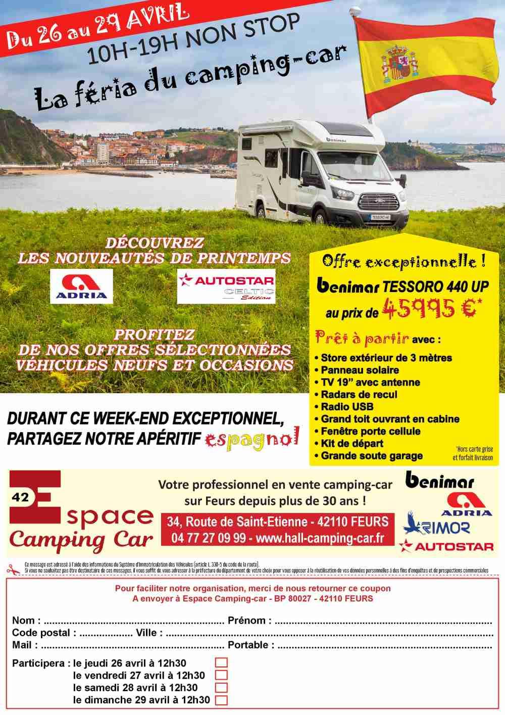 portes ouvertes chez espace camping car 42 4 jours de f te fourgon van. Black Bedroom Furniture Sets. Home Design Ideas